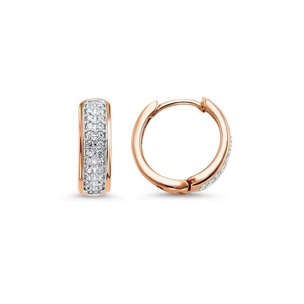 10kt Rose Gold Diamond Huggie Earrings Don's Jewelry & Design Washington, IA