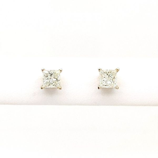 14kt Yellow Gold 1ct Princess Cut Diamond Stud Earrings Don's Jewelry & Design Washington, IA