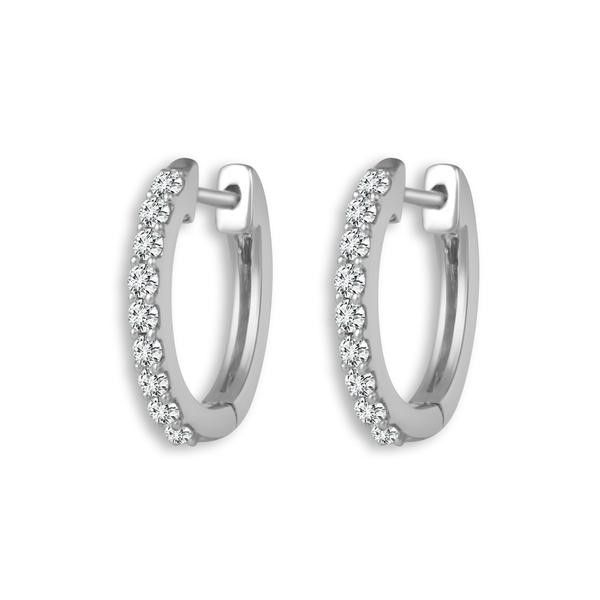 14kt White Gold Diamond Hoop Earrings Don's Jewelry & Design Washington, IA
