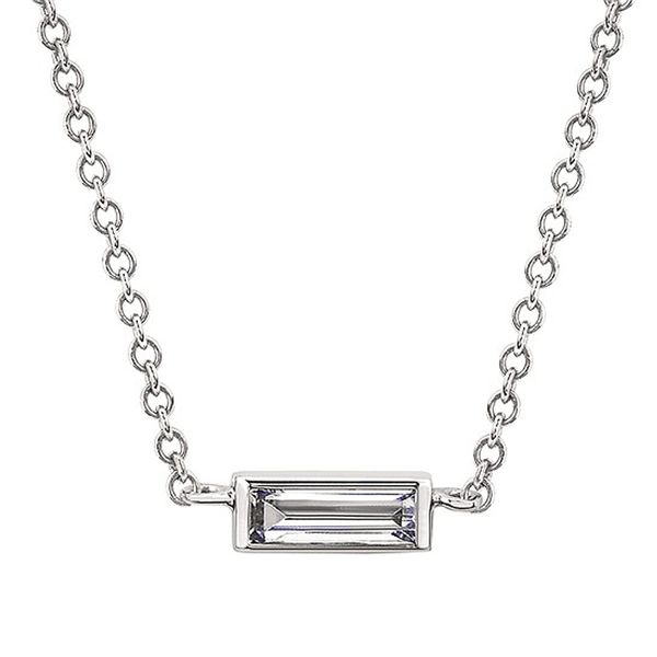14kt White Gold Diamond Baguette Necklace Don's Jewelry & Design Washington, IA