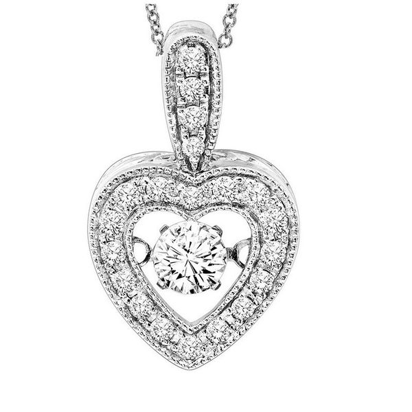 14kt White Gold Rhythm of Love Diamond Heart Necklace Don's Jewelry & Design Washington, IA