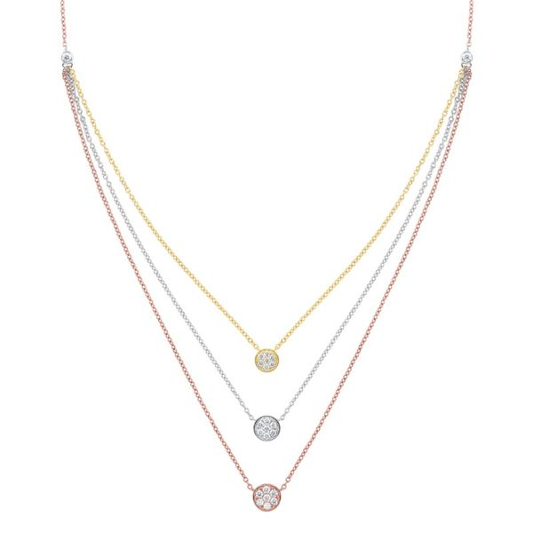 14kt White, Yellow, & Rose Gold Diamond Necklace Don's Jewelry & Design Washington, IA