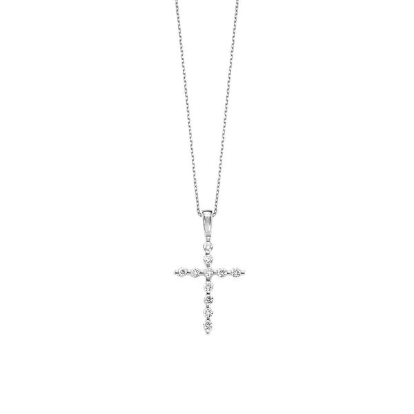 14kt White Gold Diamond Cross Necklace Don's Jewelry & Design Washington, IA