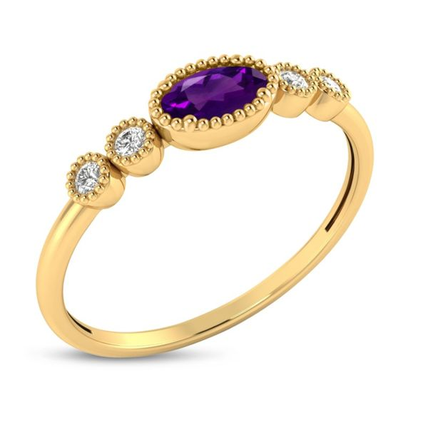 14kt Yellow Gold Amethyst and Diamond Ring Image 2 Don's Jewelry & Design Washington, IA