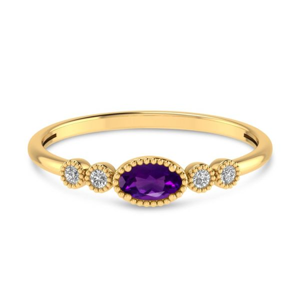 14kt Yellow Gold Amethyst and Diamond Ring Don's Jewelry & Design Washington, IA