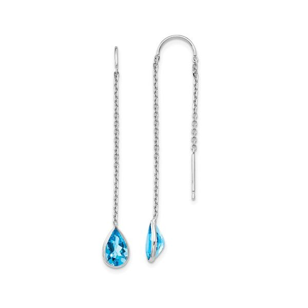 14kt White Gold Blue Topaz Earrings Don's Jewelry & Design Washington, IA