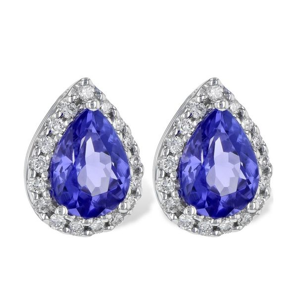14kt White Gold Tanzanite and Diamond Earrings Don's Jewelry & Design Washington, IA