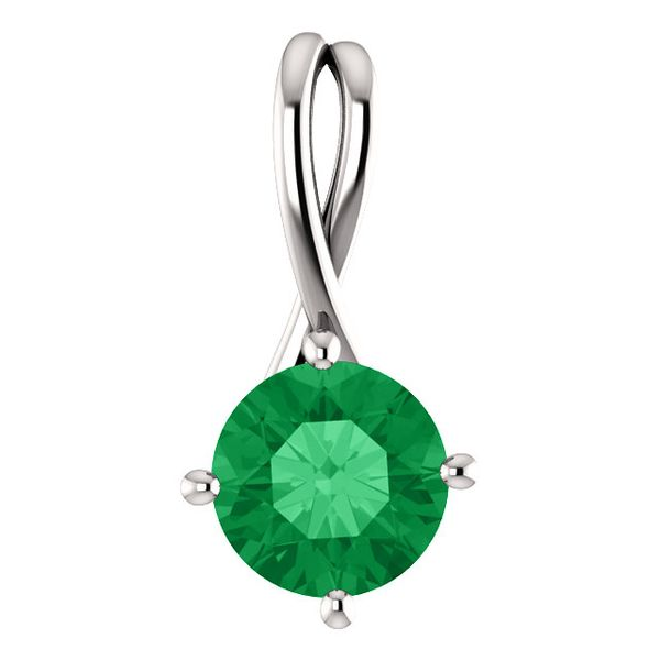 Sterling Silver Lab Created Emerald Pendant Don's Jewelry & Design Washington, IA