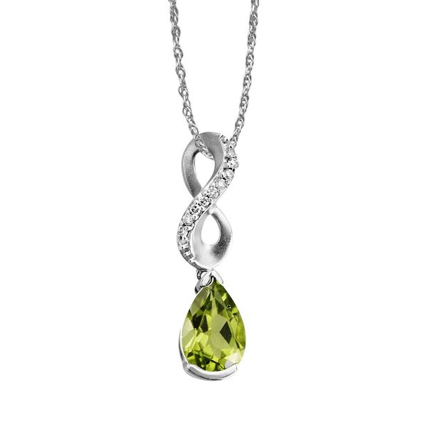 14kt White Gold Peridot & Diamond Necklace Don's Jewelry & Design Washington, IA
