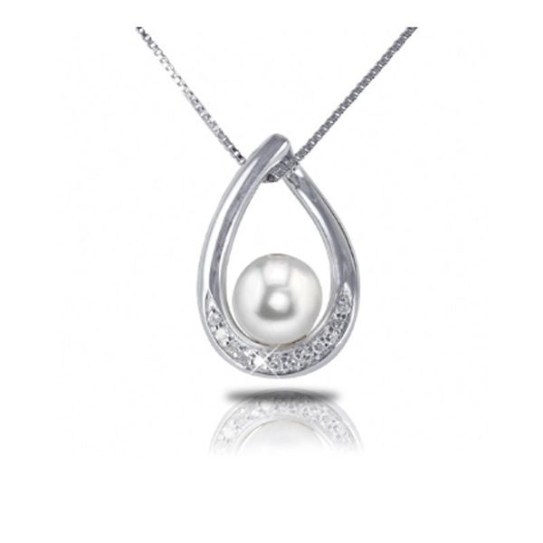 Sterling Silver Pearl & Diamond Necklace Don's Jewelry & Design Washington, IA