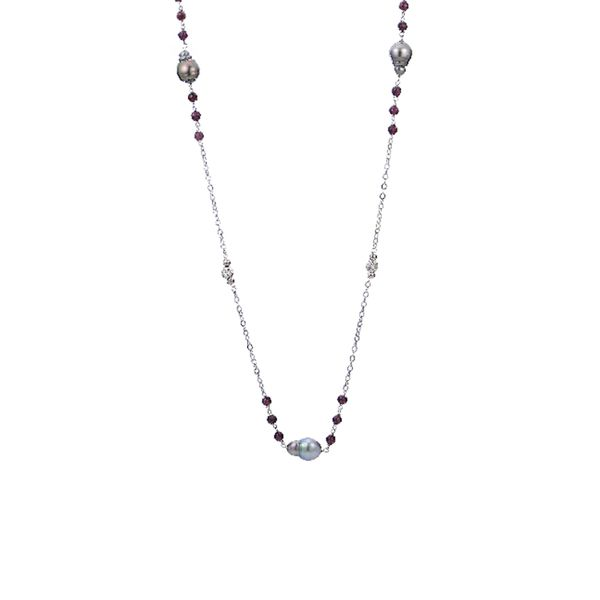 Sterling Silver Tahitian Baroque Pearl & Garnet Necklace Don's Jewelry & Design Washington, IA
