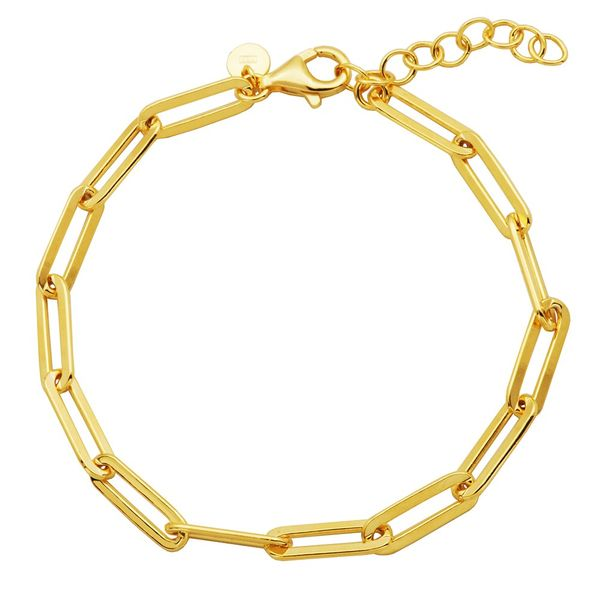 Yellow Gold Plate Paperclip Bracelet Don's Jewelry & Design Washington, IA