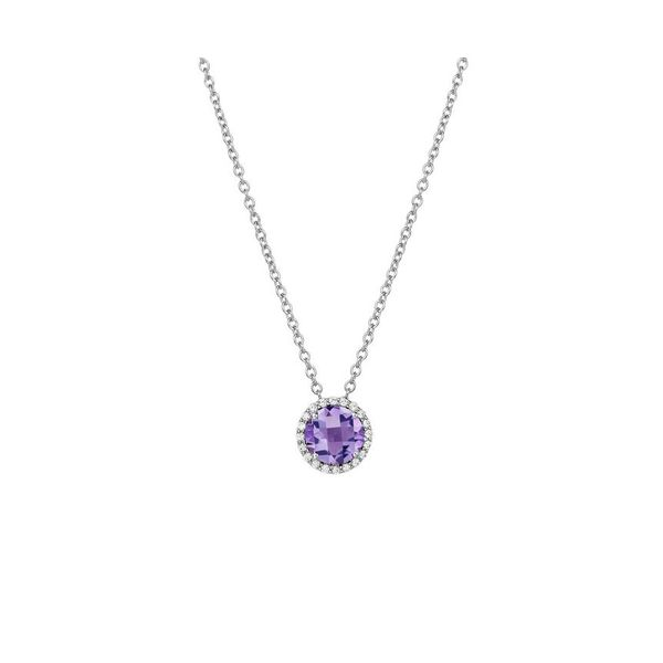 Sterling Silver Amethyst & Simulated Diamond Necklace Don's Jewelry & Design Washington, IA