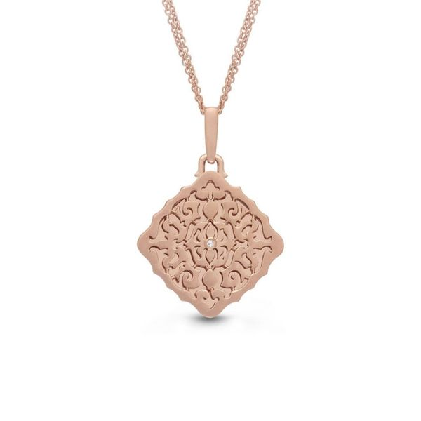 Rose Gold Plate Diamond Locket Necklace Don's Jewelry & Design Washington, IA