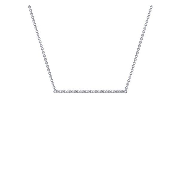 Sterling Silver Simulated Diamond Bar Necklace Don's Jewelry & Design Washington, IA