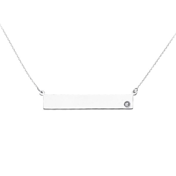Sterling Silver Bar Necklace with CZ Don's Jewelry & Design Washington, IA
