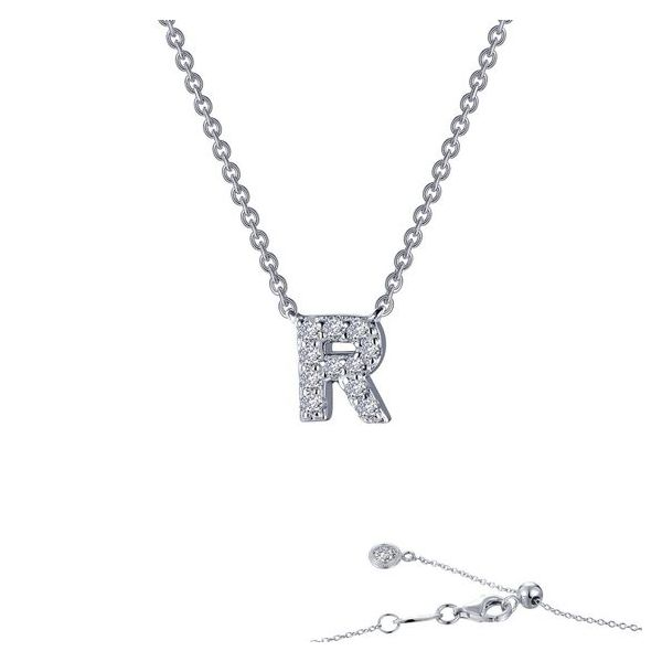 Sterling Silver Simulated Diamond Initial R Necklace Don's Jewelry & Design Washington, IA