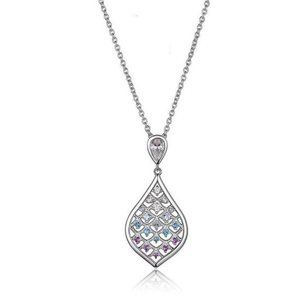 Sterling Silver CZ, Blue Topaz, & Amethyst Necklace Don's Jewelry & Design Washington, IA