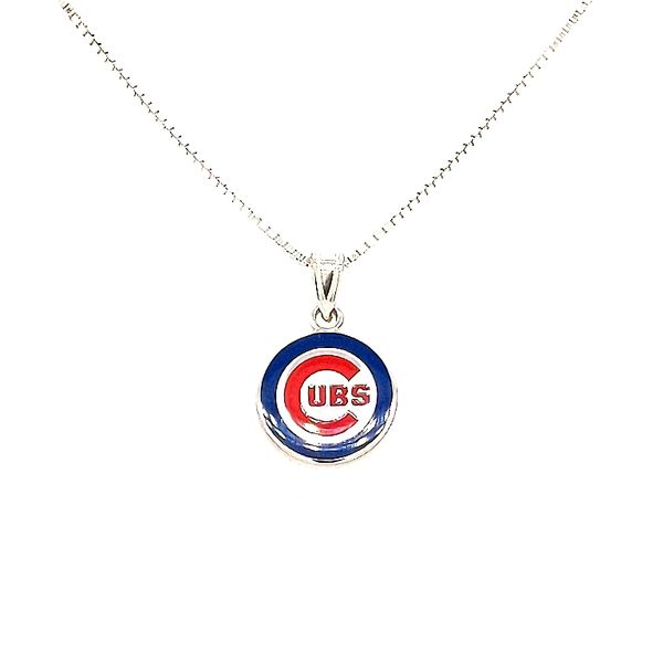 Sterling Silver Chicago Cubs Small Enamel Necklace Don's Jewelry & Design Washington, IA