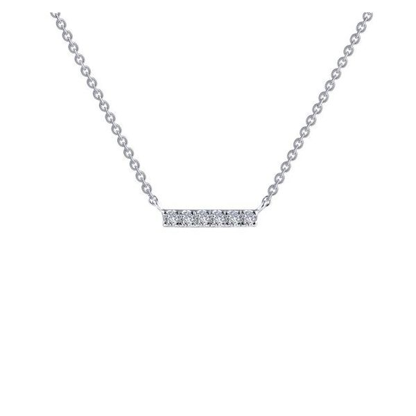 Sterling Silver Mini Simulated Diamond Bar Necklace Don's Jewelry & Design Washington, IA
