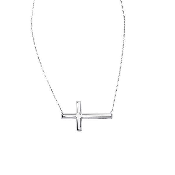 Sterling Silver Sideways Cross Necklace Don's Jewelry & Design Washington, IA