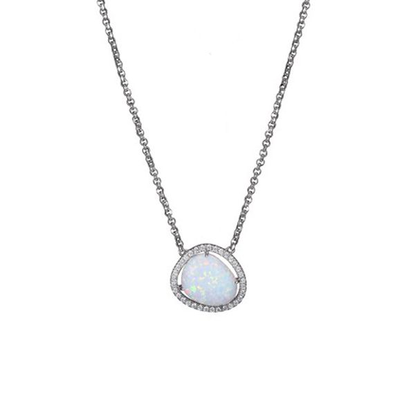 Sterling Silver Synthetic Opal Necklace Don's Jewelry & Design Washington, IA