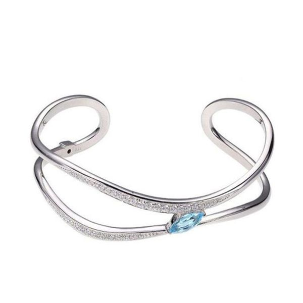 Sterling Silver Blue Topaz & CZ Cuff Bracelet Don's Jewelry & Design Washington, IA