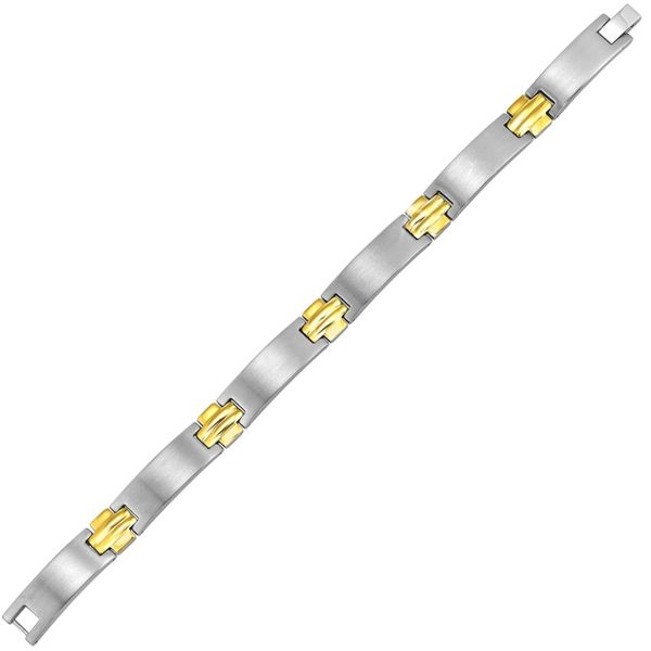 Stainless Steel & Yellow Gold Plate Bracelet Don's Jewelry & Design Washington, IA