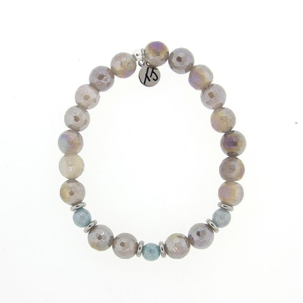 Mystic Grey Agate and Blue Quartzite Relief Bracelet Don's Jewelry & Design Washington, IA