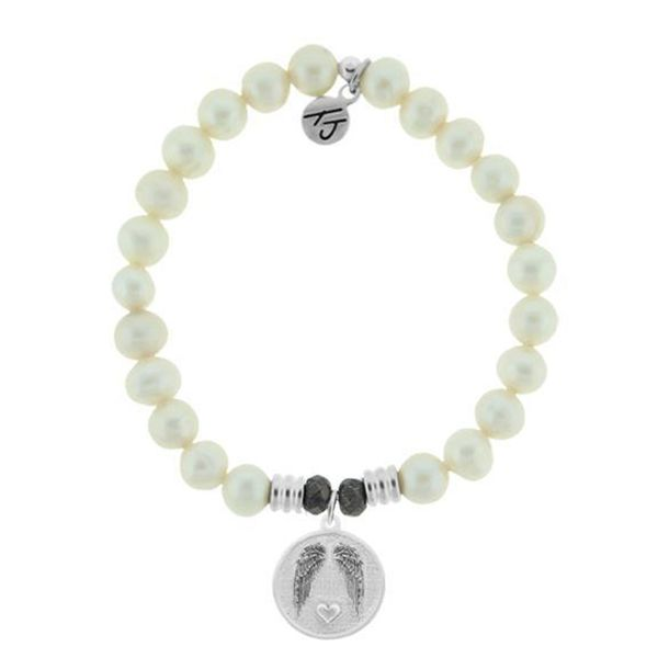 White Pearl Stone Bracelet with Guardian Sterling Silver Charm Don's Jewelry & Design Washington, IA