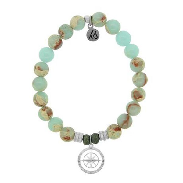 Desert Jasper Stone Bracelet with Compass Rose Sterling Silver Charm Don's Jewelry & Design Washington, IA