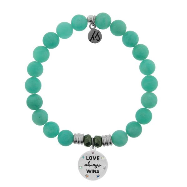Peruvian Amazonite Stone Bracelet with Love Always Wins Sterling Silver Charm Don's Jewelry & Design Washington, IA