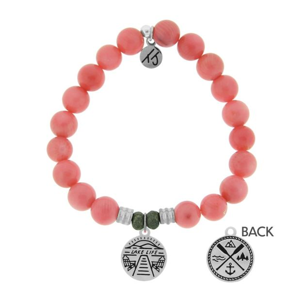 Pink Coral Stone Bracelet with Lake Life Sterling Silver Charm Don's Jewelry & Design Washington, IA