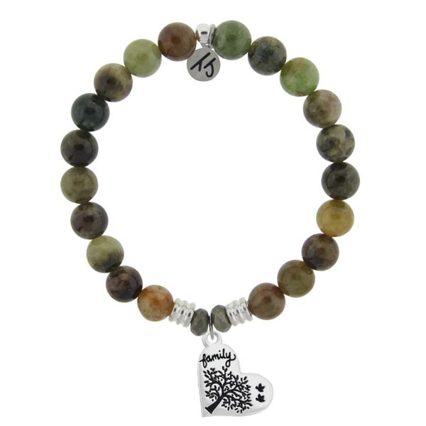 Green Garnet Stone Bracelet with Family Tree Sterling Silver Charm Don's Jewelry & Design Washington, IA