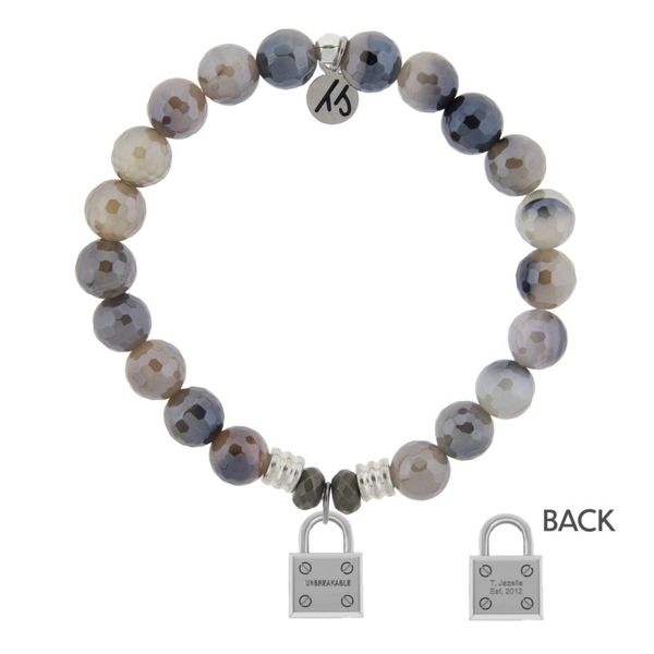Storm Agate Stone Bracelet with Unbreakable Sterling Silver Charm Don's Jewelry & Design Washington, IA