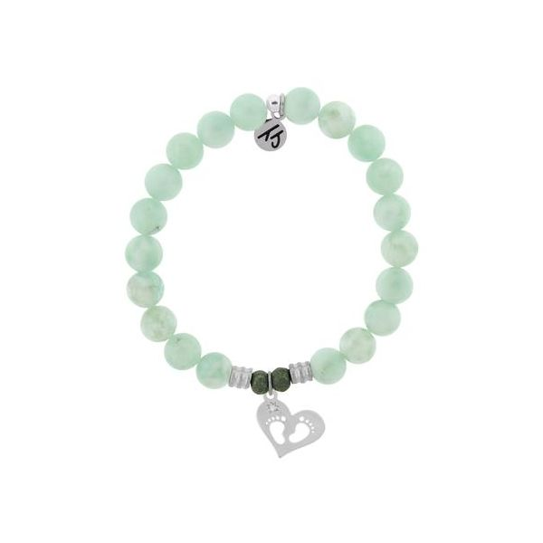 Green Angelite Bracelet with Baby Feet Sterling Silver Charm Don's Jewelry & Design Washington, IA
