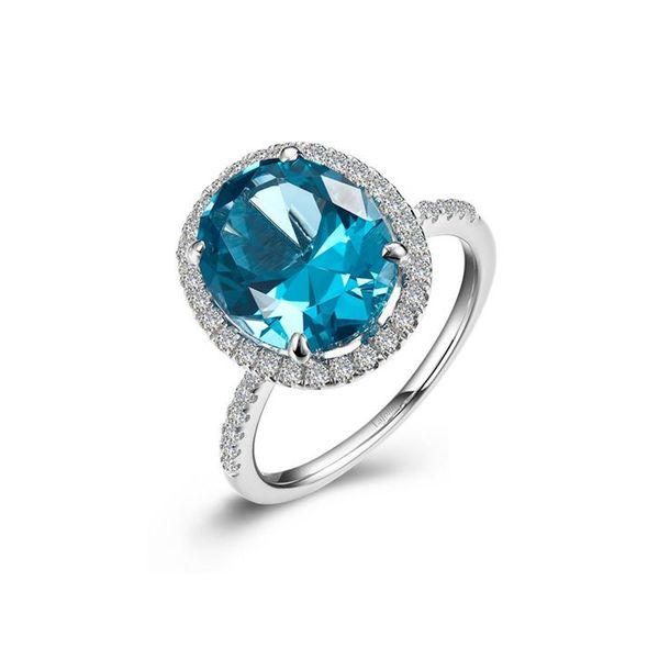 Sterling Silver Simaluated Paraiba Tourmaline & Simulated Diamond Ring Don's Jewelry & Design Washington, IA