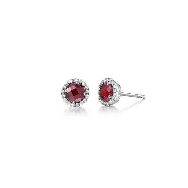 Sterling Silver Garnet & Simulated Diamond Stud Earrings Don's Jewelry & Design Washington, IA