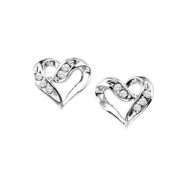 Sterling Silver Diamond Heart Earrings Don's Jewelry & Design Washington, IA