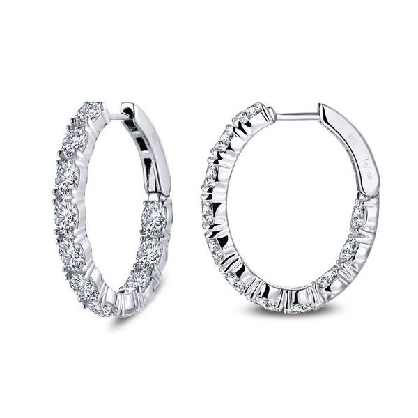 Sterling Silver Simulated Diamond Hoop Earrings Don's Jewelry & Design Washington, IA