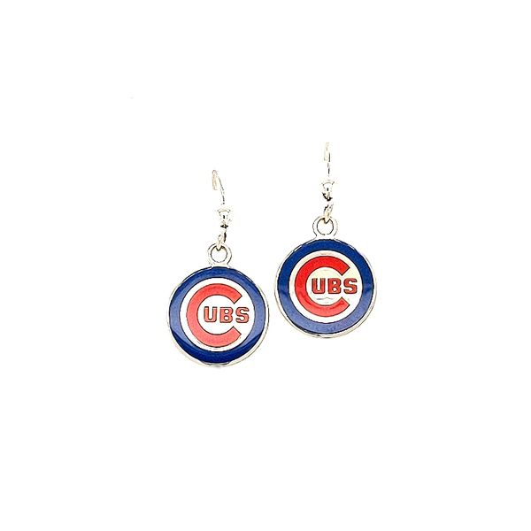 Sterling Silver Chicago Cubs Small Enamel Drop Earrings Don's Jewelry & Design Washington, IA