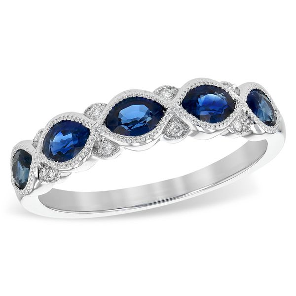 14K White Gold Sapphire and Diamond Band Elgin's Fine Jewelry Baton Rouge, LA