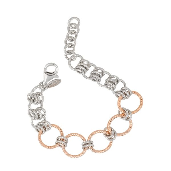 Sterling Silver and Rose Gold Finish Bracelet Elgin's Fine Jewelry Baton Rouge, LA