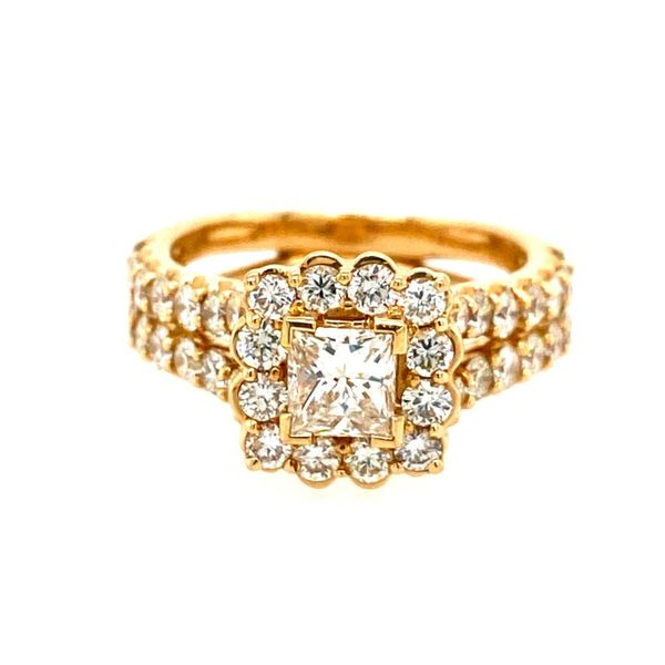 14K Yellow Gold Princess-Cut Engagement Ring with Halo E.M. Family Smith Jewelers Chillicothe, OH