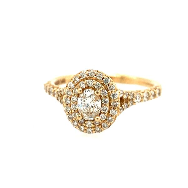 14K Yellow Gold Oval Engagement Ring with Halo E.M. Family Smith Jewelers Chillicothe, OH