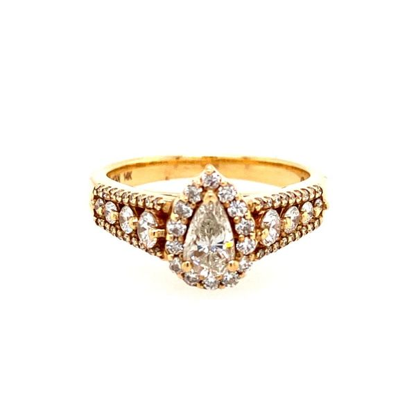 14K Yellow Gold Pear-Shaped Diamond Engagement Ring with Halo E.M. Family Smith Jewelers Chillicothe, OH