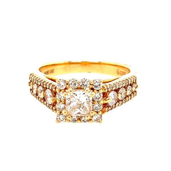 14K Yellow Gold Princess-Cut Diamond Engagement Ring with Halo E.M. Family Smith Jewelers Chillicothe, OH
