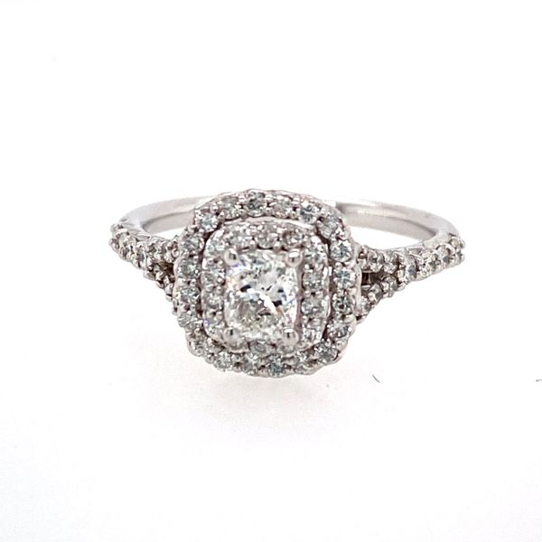 14K White Gold Engagement Ring with Double Halo E.M. Family Smith Jewelers Chillicothe, OH