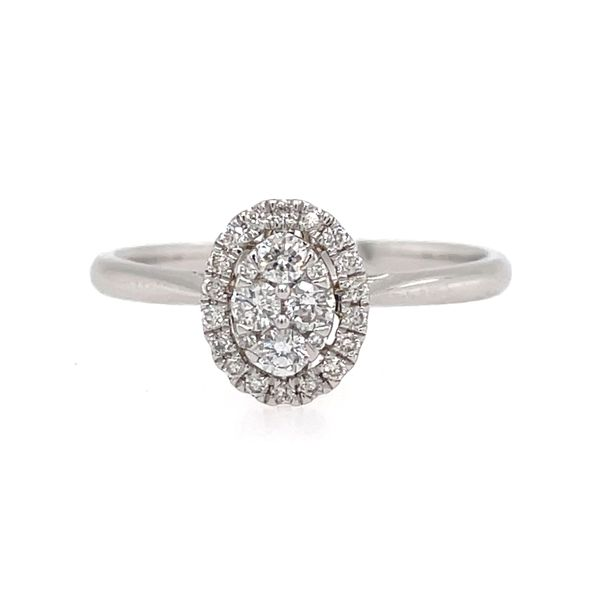 14K White Gold Diamond Engagement Ring with Halo E.M. Smith Family Jewelers Chillicothe, OH