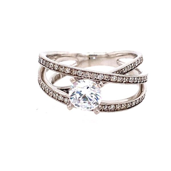 14K White Gold Open Weave Diamond Engagement Ring Semi-Mounting E.M. Family Smith Jewelers Chillicothe, OH
